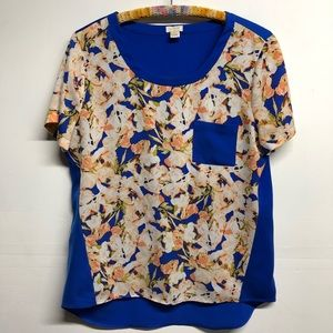 J. crew blouse small floral pocket blue